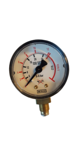 Manometer 0-12 liter/minuut 50 mm - 1/8 - Argon/Menggas""